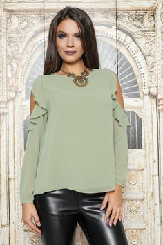 Bluza din voal,maneca lunga cu volane la umeri,prevazuta cu nasture la spate [Shoulder-less veil blouse with long sleeves, fitted with buttons at the back]