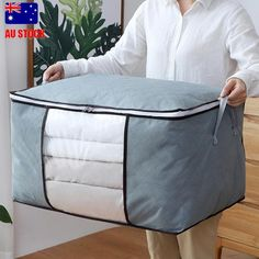 Large Foldable Storage Bag Clothes Blanket Quilt Closet Organizer Box Pouches LJ