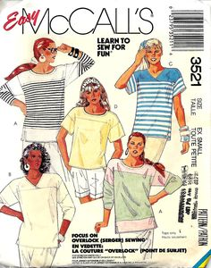 McCall's 3521 Misses Stetch Knit Tops Pattern, Size XS, UNCUT by DawnsDesignBoutique on Etsy