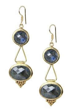 Saachi 18K Gold Plated Labradorite Lantern Earrings