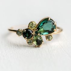 ew and very limited edition! Willow ring features a stunning green color palette of green tourmaline, peridot, and green sapphire. Jewelry Box, Jewelry Rings, Vintage Jewelry, Jewelry Accessories, Fine Jewelry, Jewelry Design, Modern Jewelry, Jewlery, Handmade Jewelry