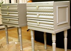 What you'll need:  Fira mini chest (Ikea)  4 12″ Wooden legs  4 Metal top plate to attach legs to chest  Decorative trim, assorted styles, 6-8′ long  Paint  3 Knobs  Wood glue (we used Elmers wood glue)  Paint brushes  Hardwood for base, cut to 14″X10″  Hammer and small nails  Hacksaw  Sandpaper
