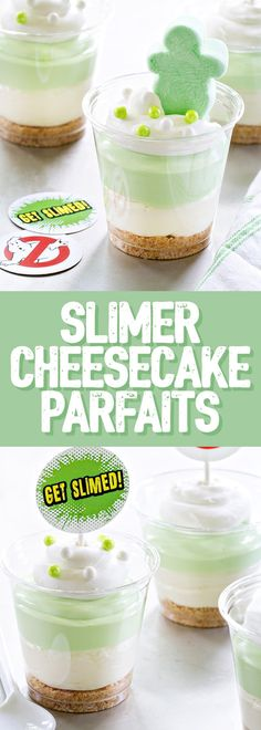 Slimer Cheesecake Parfaits are layered with vanilla cookies marshmallow cheesecake filling and pistachio pudding. They're sure to be a hit for the Ghostbusters lover in your life! In collaboration with Campfire Marshmallows. Party Desserts, Party Snacks, Healthy Desserts, Delicious Desserts, Marshmallow Cheesecake, Ghostbusters Birthday Party, Hallowen Food, Mousse, Pistachio Pudding
