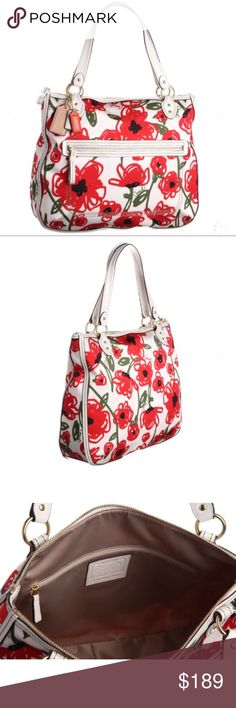 "Coach Large Poppy Floral Hallie Tote Bag NWOT Coach Large Poppy Floral Hallie Tote Bag  Fresh and vibrant fabric, this refined modern silhouette features dodgy rounded corners and precise leather trim. A touch of chain link hardware adds subtle glamour.  Floral print with red flowers and green send hand drawn to perfection. Zippered top with front zippered pocket.  Double leather straps with an 8"" drop.   Size 15.5"" x 13""  Beautiful bag!! Perfect for spring and summer!! Coach Bags Totes"