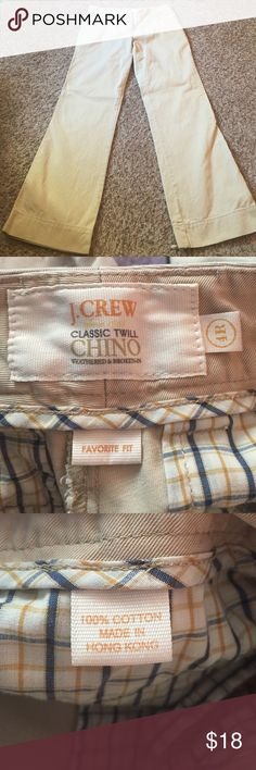 """J Crew Khaki Chino Pants 30"""" inseam. Chino twill material. Flare pant. Regular length. Excellent condition. Favorite fit. Pockets in front and back. J. Crew Pants Boot Cut & Flare"""