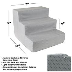 High Density Foam Pet Stairs 3 Steps with Machine Washable Zippered Removeable Micro-Fiber Cover with non-slip bottom by PETMAKER - Print on Gray Cat Stairs, Pet Steps, Stair Steps, Grey And White, Gray, Home Decor Store, Seasonal Decor, Your Pet, Pet Supplies