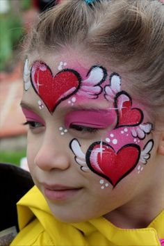 Heart face painting design
