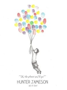 Boy being lifted by Balloons Finger Print Guest by PTWatersDesigns Teacher Thank You Cards, Teacher Gifts, Thumbprint Guest Books, Feel Better Gifts, Fingerprint Art, Birthday Wall, Finger Print, Classroom Fun, Ink Pen Drawings