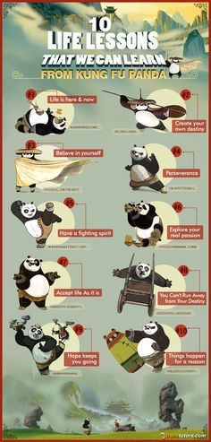 10 Life Lessons That We Can Learn From Kung Fu Panda #Infographic #Animal #KungFuPanda