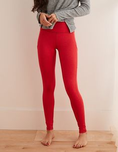 f5a33fe81736e2 Aerie Play High Waisted Pocket Legging, Scarlet | Aerie for American Eagle  Athletic Outfits,