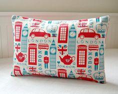 London cushion cover, UK red bus, Big Ben, Union Jacks decorative pillow cover 12 x 18 inch via Etsy #bestofbritish