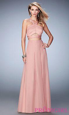 Long La Femme Two Piece Open Back Prom Dress at PromGirl.com