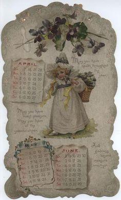 LITTLE LOVES CALENDAR FOR 1901. Vintage Calendar, Art Calendar, Calendar Girls, Calendar Pages, Vintage Labels, Vintage Cards, Image Paper, Decoupage Paper, Vintage Children