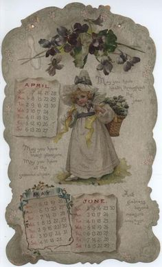 LITTLE LOVES CALENDAR FOR 1901. Vintage Calendar, Art Calendar, Calendar Girls, Calendar Pages, Vintage Labels, Vintage Cards, Vintage Prints, Vintage Floral, Image Paper