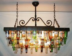 Two tiered beer bottle chandelier for your pool table. diy