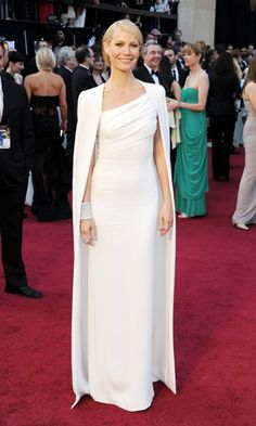 Gwyneth Paltrow in white Tom Ford. Digging the cape #oscars