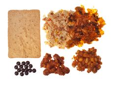 South Korean Military Ration, Type I    Contents: sautéed kimchi, ham fried rice, flavored sausage, white beans and sauce, almond cake, and chocolate candy