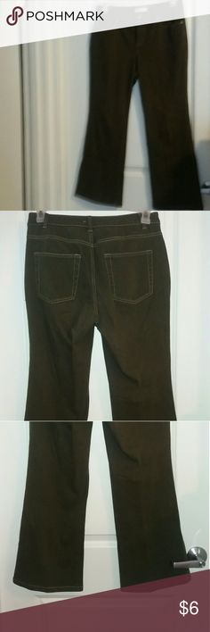 Coldwater Creek Jeans Coldwater Creek Jeans size P8 in a sort of grayish green color. Slight discoloration around the button hole, behind the front button when closed.Shown in last picture. Pairs well with a tank long necklace and flats. Coldwater Creek Jeans