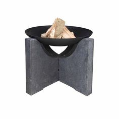 Black Cast Iron Fire Bowl with Granito Base 27″x 27″x 18″