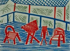 David Hockney, Two Red Chairs and Table on ArtStack #david-hockney #art