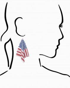 Mesh Flag Dangle Earrings