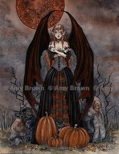 LAST ONES Harvest Moon Halloween Fairy print by Amy by AmyBrownArt, $14.00