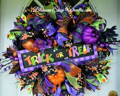 Halloween Wreath, Deco Mesh Wreath, Trick or Treat Wreath, Fall Wreath, Autumn , Seasonal Wreath by BlossomShopWreaths on Etsy