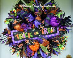 Halloween Wreath, Deco Mesh Wreath, Trick or Treat Wreath, Fall Wreath, Autumn , Seasonal Wreath by BlossomShopWreaths on Etsy