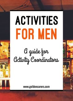 The best way to find meaningful activities for men is to uncover past lifestyle choices and history - you can gather this information from residents and their families. Here are 8 tips for engaging men in meaningful activities. Activities For Dementia Patients, Alzheimers Activities, Elderly Activities, Activities For Adults, Work Activities, Therapy Activities, Activity Ideas, Dementia Care, Dementia Crafts