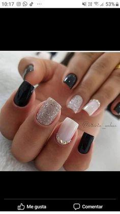 Creative Nail Designs, Creative Nails, Square Nail Designs, Short Square Nails, Classic Nails, Cute Acrylic Nails, Stylish Nails, Beauty Nails, Manicure