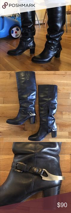 Carvela Kurt Geiger Leather Boots Great quality! Black leather knee-high boots with hardware detail at the ankle. Kurt Geiger Shoes Heeled Boots