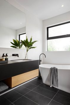 R U S H ➕ V I V I D S L I M L I N E We absolutely love the black, white and timber styling in this stunning ensuite in The Langham 44 house from ! This bathroom features our Rush Wall Set and Vivid Slimline Floor Mounted Bath Mixer, b Bad Inspiration, Bathroom Inspiration, Interior Design Inspiration, Design Ideas, Bathroom Inspo, Bathroom Renos, Bathroom Interior, Modern Bathroom, Master Bathroom