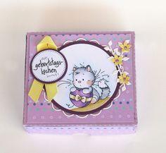 blog.karten-kunst.de - Geburtstagskuchen-Bausatz mit Wee-Kitten. Whimsy Stamps Playful Kittens, Memory Box Stanzschablone Delicate Vine, Whimsy Circle