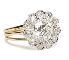 Art Deco Cluster Ring with 1.12 ct Diamond - The Three Graces