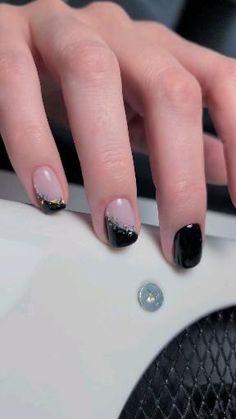 Shellac Nail Designs, Shellac Nails, Fall Nail Designs, Black Nails With Glitter, Glitter Nails, Pedicure, Toronto, Pedicures, Glittery Nails