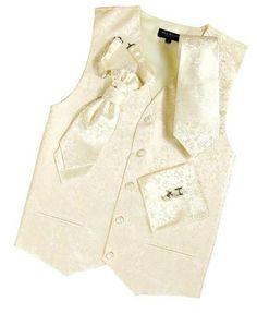 GROOM - Paul Malone Wedding Vest Set Ivory 5pcs Tuxedo Vest + Necktie + Ascot + Hanky + 2 Cufflinks