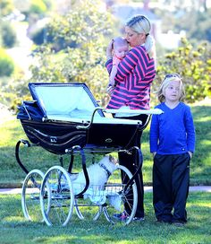 Tori Spelling hit an L.A. park w/baby boy Finn plus older son Liam and one of their dogs on Jan.22,2013