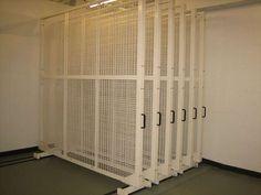 sliding space saving art storage rolling compact mobile aisle shelving
