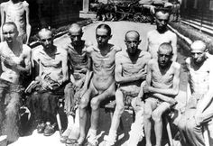 Mauthausen, Austria, 1945, Italian survivors, after the liberation. Forced labor, and 600 calories a day. Nothing but watery soup and a piece of bread made mostly with saw dust.