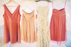 coral and peach bridesmaid dresses