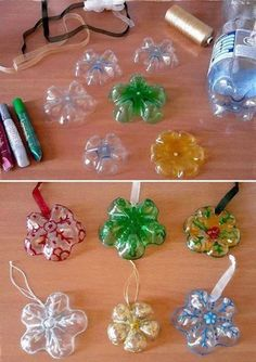 Recycled pop/ water bottles Christmas decorations