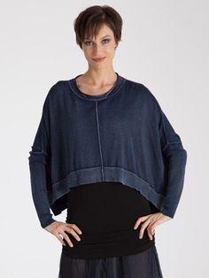Planet Over Dye Crop Sweater in Indigo