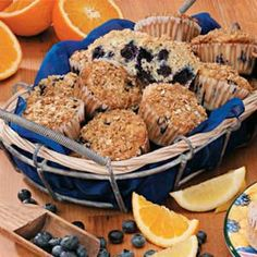 """Lemon-Blueberry Oat Muffins Recipe -These yummy oatmeal muffins showcase juicy blue berries and zesty lemon flavor. """"They're a perfect mid-morning snack,"""" says Jamie Brown of Walden, Colorado."""