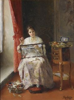 young woman embroidering on a lap frame. LUIS JIMENEZ Y ARANDA 1891