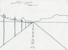 A simple illustration of one point perspective and the vanishing point.