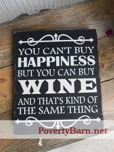 $23 Money can't buy happiness, but it can buy wine pallet wood sign now available in the Poverty Barn Etsy Shop! #HandmadeInAmerica