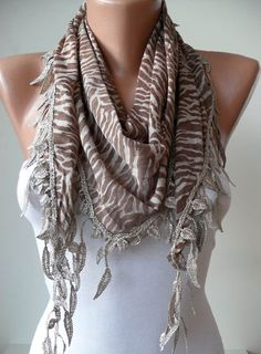 Light Brown and Leopard Scarf with Trim Edge  by SwedishShop, $15.90