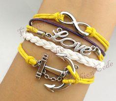 Infinity Anchor & Love BraceletAntique Silver by TheGiftoftheMagi, $7.99