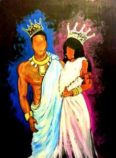 King and his queen Black Couple Art, Black Love Art, Black Girl Art, My Black Is Beautiful, Art Girl, African American Art, African Art, Black King And Queen, King Queen
