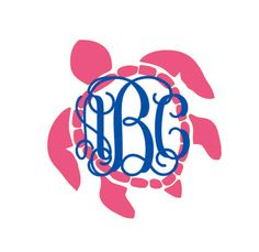 monogram turtle decal for car, laptop, cup, cell phone, Yeti, iphone, notebook, tumbler, boots, rambler, cooler by aSweetSouthernAccent on Etsy https://www.etsy.com/listing/247131737/monogram-turtle-decal-for-car-laptop-cup